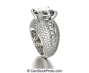 Wedding Ring with diamond. Jewelry background