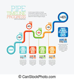 Pipe Timeline Progress Infographic - Vector illustration of...