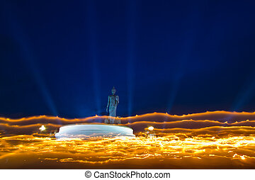 Makha Bucha Day, Candle lit from buddhists are moving around...
