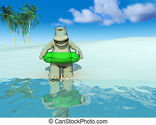 Cartoon hippo on the beach.