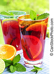 Fruit punch in glasses - Refreshing fruit punch in two...