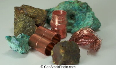 Copper Minerals Finished Products - Close up dolly shot of...