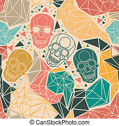 Skull with geometric polygonal ornament. - Skull with...