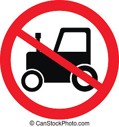 No tractor road sign on white background. Vector...