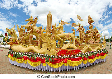 Candle Festival Thai art  Candle wax in UbonRatchathani, Thaila