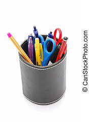 Office stationary - Colorful used pens and scissors in a...