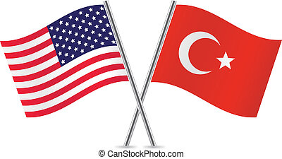 American and Turkey flags. Vector illustration.