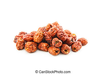 dried jujube fruits on white background - dried jujube (red...
