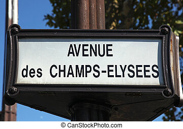 Avenue des Champs-Elysees Paris - street sign Avenue des...