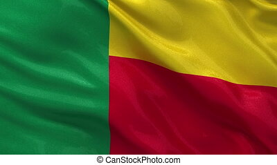 Flag of Benin seamless loop - Flag of Benin gently waving in...