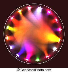 Colorful theatrical spotlights on a circular ramp - Colorful...
