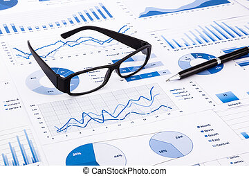 blue business charts, graphs, document and paperwork -...
