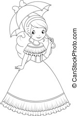 Princess coloring page - little princess with an umbrella on...