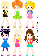Characters girls - Set of characters of girls in different...