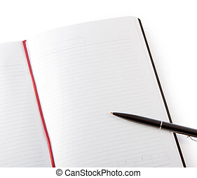 Open blank book with lines, red bookmark, black cover and...