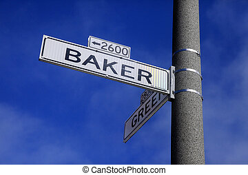 roadsign - Roadsign Green Street and Baker Street in San...