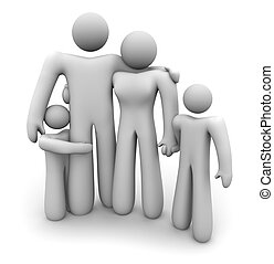 Family Standing Together - Dad, Mom and 2 Kids - A family of...