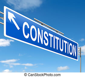 Constitution concept - Illustration depicting a sign with a...