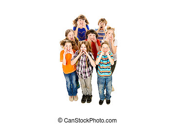 invite - Group of happy children standing together and...
