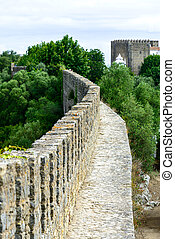 Old bulwark in Obidos Portugal - Old bulwark and castle in...