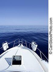 Bateau, bleu, méditerranéen, mer, nautisme