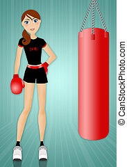 Woman doing boxe in the gym - an illustration of a Woman...
