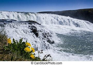 Gullfoss, Iceland - Gullfoss Golden Falls waterfall located...