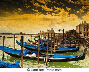 Gondolas in Venice, oil painting. - Gondolas with San...