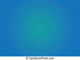 Drops of water on a blue background such as steamed glass