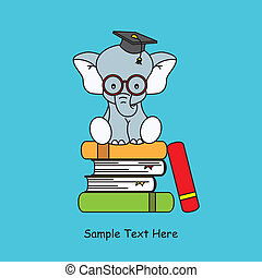 elephant sitting on top of books graduation cap and With...