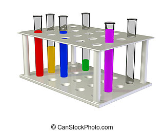 Test tubes with chemical reactants of various colour scale...