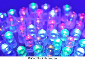 colored LEDs - macro detail of some colored LEDs in blue...