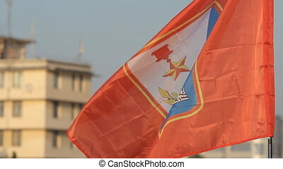 Flag of Sevastopol fly over the crowd - Flag with symbol of...