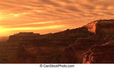 Canyonlands National Park, sunset, pan