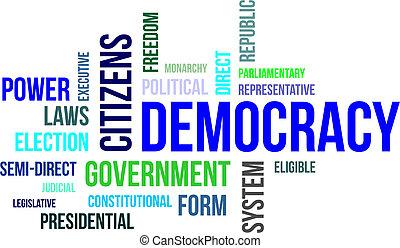 palabra,  -, nube, democracia