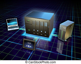 Network attached storage - Various devices connected to a...