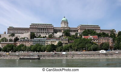 Buda castle on Danube river Budapest