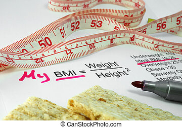 Body mass index BMI - measuring tape, a bread and a paper...
