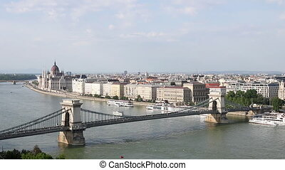 chain bridge on Danube river Budapest cityscape