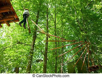 Kid in a treetop adventure park - School boy climbing in...