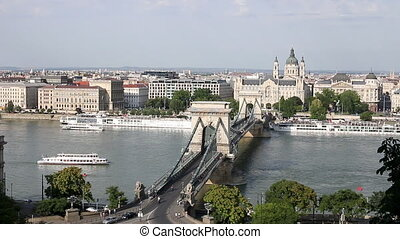 chain bridge on Danube river Budapest