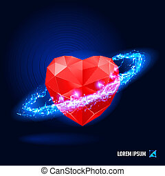 Heart - Red diamond in form heart surrounded by a stream of...