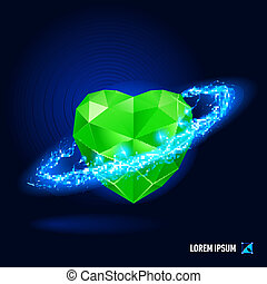 Energy - Green diamond in form heart surrounded by a stream...
