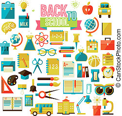 set of flat school icons isolated on white vector...