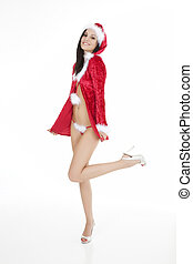 Sexy Santa - A very beautiful and sexy woman dresses as a...