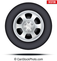 Tire and wheel of car. Vector Illustration - Tire and Wheel...