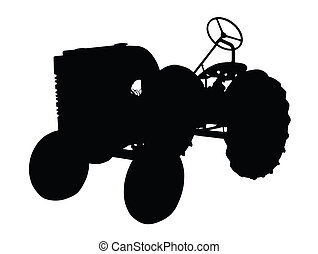 Silhouette of a Vintage Small Tractor - Detailed Silhouette...