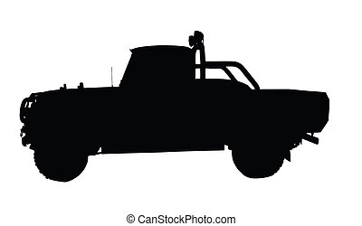 Vintage 4x4 Pick-up Truck Silhouette - Small Type Vintage...