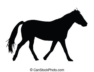 Portrait Silhouette of Large Horse Galloping