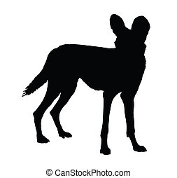 Silhouette of Alert Wild Dog - Detailed Silhouette of Alert...